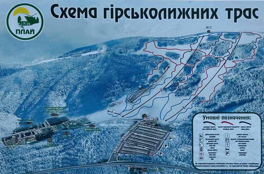 Схема гірськолижних трас Плай